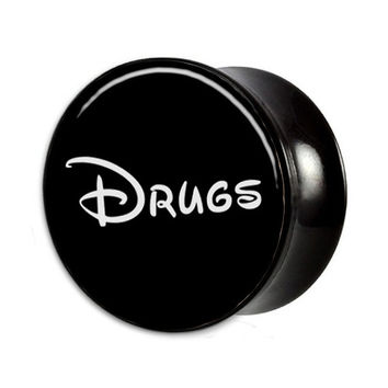 "1 pc Drugs Picture Plug gauges (00g - 1-1/2"" // 10mm - 38mm)"