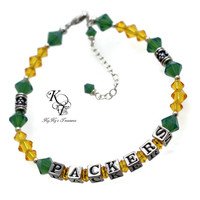 Green Bay Packers, Sports Jewelry, Sports Team Bracelet, Football Jewelry, Packers Bracelet, Christmas Gift, Green Bay Packers Jewelry