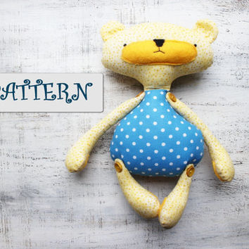 PATTERN for safe stuffed bear 12' stuffed animal baby diy project