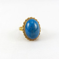 Vintage 14K Gold Lapis Lazuli Ring, Mid Century Retro Large Blue Cabochon Yellow Gold Statement Ring Size 6.5 Fine Jewelry
