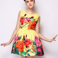Yellow Sleeveless Floral Mini A-Line Dress