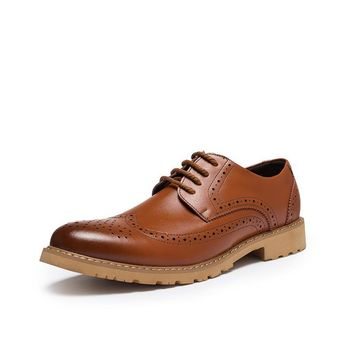 Wing Tip  Flat Formal Brogue Lace Up Shoes