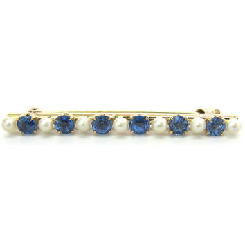 Sapphire Pearl Brooch Victorian Solid 14K Gold Bar Pin 6 Round Genuine Blue Gemstones 7 Pearls Antique Edwardian 1900s 1910s Jewelry