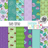 "Tea Party Digital Paper - ""Tea Time' - seamless teacup and teapot patterns in purple, green & teal - scrapbook paper - commercial use CU OK"