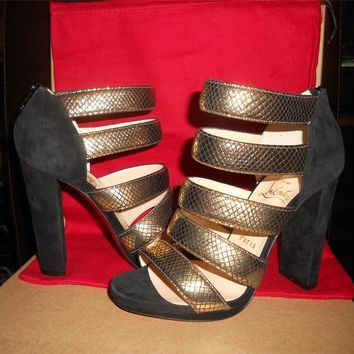 Christian Louboutin MEHARI Snake Suede Strappy Ankle Sandals Booties Shoes $995
