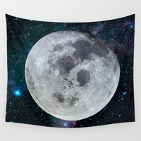 Moon and the stars Wall Tapestry by Lostfog Co.