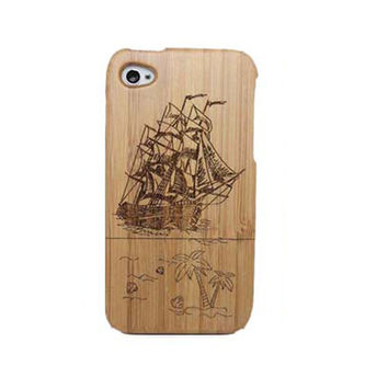 Sailing Ship Carving Wooden Phone Case for iPhone 4 / iPhone 4S