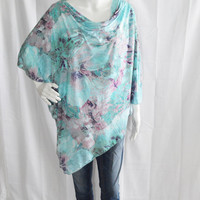 Floral Lace Poncho/ Nursing Breastfeeding Cover/ Lightweight Shawl/ Off the Shoulder Boho Top/ New Mom Gift/ Mint Turquoise Purple Wrap