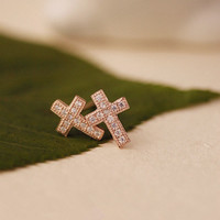 Cute Cross with Micro-Pave Earrings 061011