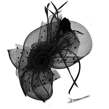 Mocofo Fascinators Hat for Women Feather Mesh Net Veil Party Wedding Fascinators with Clip and Hairband
