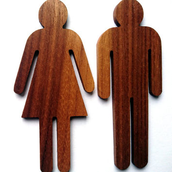 Dark/Light Walnut WC Sign for Men and Woman Restroom, Bathroom sign, Restaurant decor, Wooden sign, Environmental Friendly Green materials