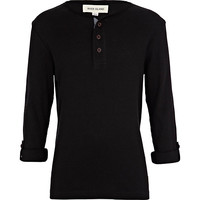 River Island Boys black ribbed long sleeve grandad t-shirt