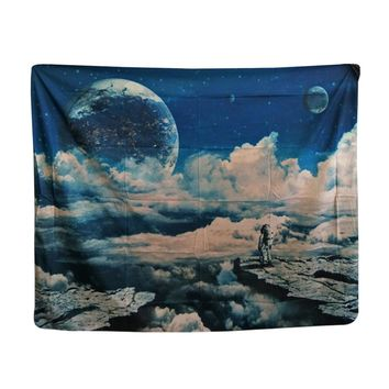 Papa&Mima Blue sky and clouds printed Indian tapestry Wall hanging decorative Tapestries