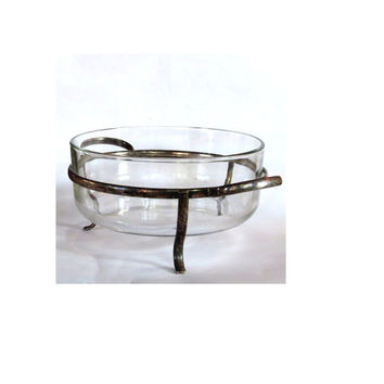 Vintage serving dish. Casserole dish. Glass serving bowl. Metal stand. Brass stand. Serving caddy. Silver serving piece. Silver plated.