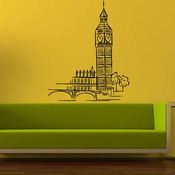 Wall Decal Vinyl Sticker Room Tattoo Decor Big Ban Tower London Building City Landscape 1360