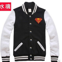 Superman Baseball Jacket Mens autumn jacket male Korean tide cardigan male = 1946310340