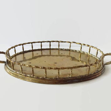 Vintage Solid Brass Bamboo Tray, Faux Bamboo Gallery Tray, Oval Serving Tray, Hollywood Regency Chinoiserie