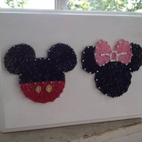 Mickey Mouse and Minnie Mouse Heads Custom String Art Design