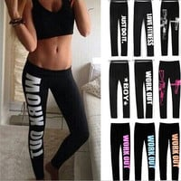 Casual letters Printed Stretch Pants