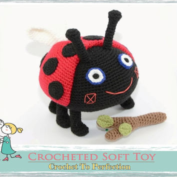 Gaston LARGE Ladybird, CROCHET TOY, Ben and Holly Inspired, Knitted Stuffed Animals, Amigurumi Ladybug, Crochet Ladybird, Amigurumi Bug