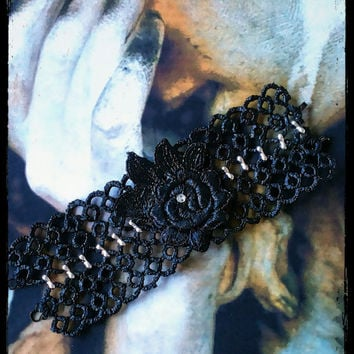 Handmade black and silver rose stiffened lace bracelet, small size