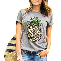 Women Casual  Gray T shirt 2016 New Spring Summer O Neck Fruit Print Pineapple Cotton Women Shirts Ladies Fashion T-shirt QA965