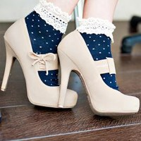 Milady's Boudoir Crochet Lace Trim Polka Dot Print Ankle Socks in Navy Blue | Sincerely Sweet Boutique