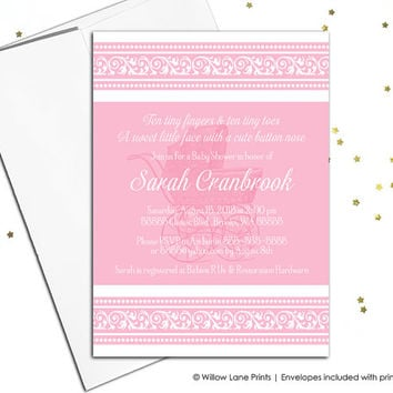 printable baby shower invitation girls baby shower invites pink and white, baby carriage, elegant baby shower invitations (761)