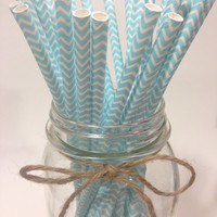 25 Light Blue Chevron paper straws / baby bridal shower decorations / candy dessert buffet table // wedding // First birthday/new year party
