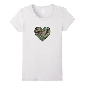 Camo Heart I Love My Soldier Military Distressed T-Shirt