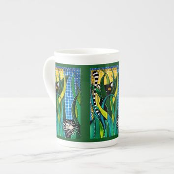 Hunter in Camouflage Whimsical Cat Art Tea Cup