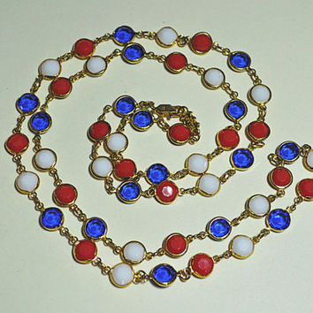 """BELLAGIO Austrian Crystal, Vintage Gold, Red, White and Blue, 8mm Crystal Bezel, Long 36"""" Necklace, Perfectly Patriotic!  #a789"""