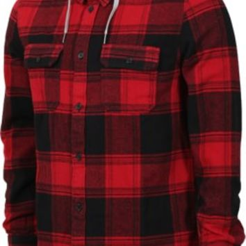 DC Shoes Runnel Hooded Flannel Shirt - rio red - Free Shipping