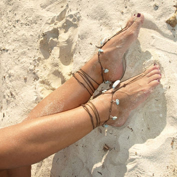 Larimar white coral pendant barefoot sandals eco friendly natural wire wrapped jewelry silver blue beach wedding Caribbean boho anklet