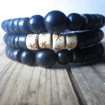 Triple Wrap , Rustic Wood, Memory Wire, Tribal , Black, Stacking Bracelet , Unisex