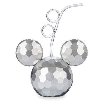Disney Parks Mickey Mouse Disco Ball Tumbler with Straw New