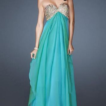 La Femme Embellished Strapless A-Line Evening Dress 18774 - 1 pc Marine Blue In Size 14 Available
