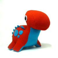 Eco Plush Brontosaurus in Burnt Orange with Teal by ecoLEFTZ