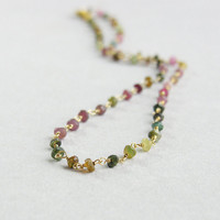 Multi color tourmaline necklace, wire wrapped faceted rosary, sterling silver golden plated, Watermelon tourmaline, October birthstone