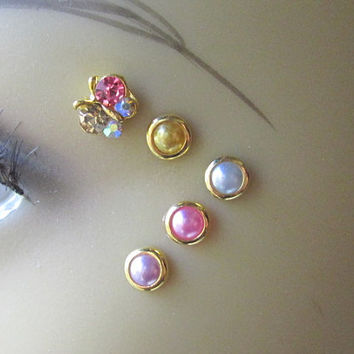 Gold Butterfly Eye Decals Eye Bindi Sprite Fairy Costume Jewelry Nonpiercing Eyebrow Accessory Crystal Butterfly 3D Tattoo Pearl Bindi