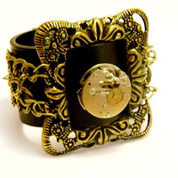 "Steampunk bracelet ""Always on time"", antique handwatch, leatherette, free shipping"