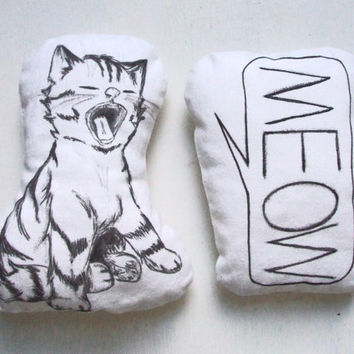 cute cat cushion black and white stuffed cat set of 2 pillow nursery room home decor soft toys