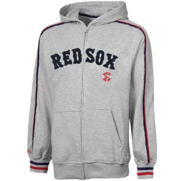 Stitches Boston Red Sox Heather Fleece Full Zip Hoodie - Ash