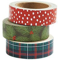 Branch, Plaid, Flurry Holiday Washi Tape (Set of 3)