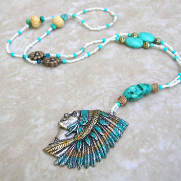 Indian Chief Necklace - Long Bohemian Necklace - Turquoise Colored Beads - Boho Jewelry