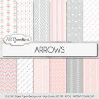 "Arrows Digital Paper: ""ARROWS"", chevron patterns, triangles, geometric pattern, colors include peach arrows, grey, pale pink arrows"