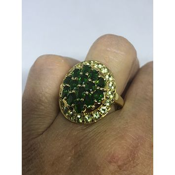 Vintage Handmade green Chrome Diopside and Peridot Filigree setting Gold Sterling Silver Gothic Ring