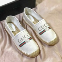 Gucci Logo Canvas Espadrille Slip On Women's Shoes - Best Online Sale