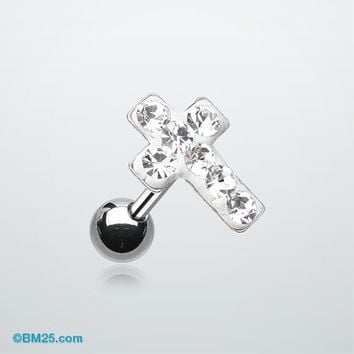 Cross Multi-Gem Cartilage Earring