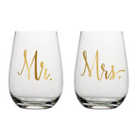 Mr. and Mrs. Stemless Wine Glasses
